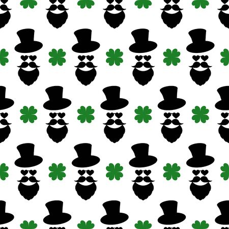 Seamless pattern with a stylish print. Man head. Hat, beard, mustache cloverleaf for luck. Colored isolated elements on white background. The backdrop for modern design, greeting, card, textile, print Illustration