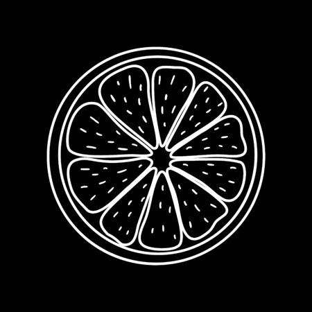 Black-white citrus icon. Isolated outline element on the background. Stock vector illustration. For modern creative design, logos, banners, packages, covers, prints, menus, stickers, labels, etc.