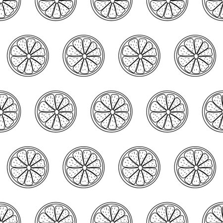 Black and white seamless pattern with sliced pieces of citrus fruit. Stylish simple backdrop. Vector illustration. Ideas for modern creative designs of backgrounds, print, packing, textile, menus.