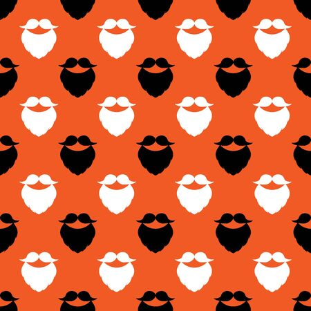 Seamless vector pattern with mustache and beard. Colored elements on an orange background. Modern illustration for designs backdrops, banners, posters, cards, packing, print, textiles, wrapper.