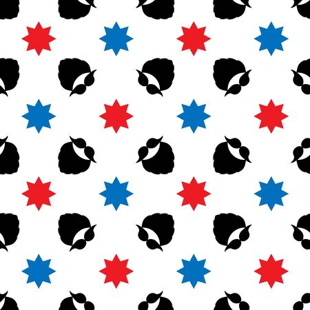 Seamless vector pattern with a mustache, beard, and decorative stars. Black, red, blue elements on a white background. Illustration for designs backdrops, posters, cards, packing, print, textiles, etc Vettoriali