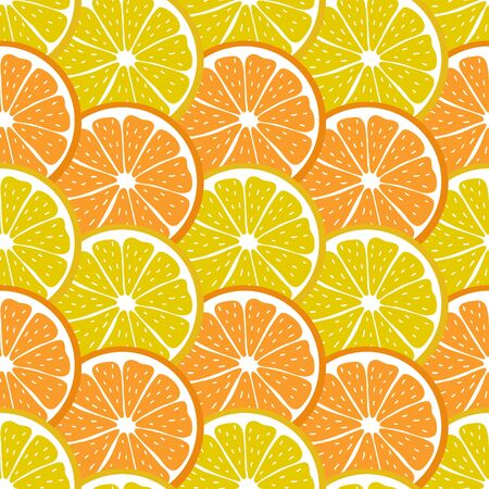 Colorful seamless pattern with sliced pieces of citrus fruit. The modern backdrop of tropical fruits. Vector illustration. Great for creative designs of backgrounds, cards, print, textile, textiles. Illustration