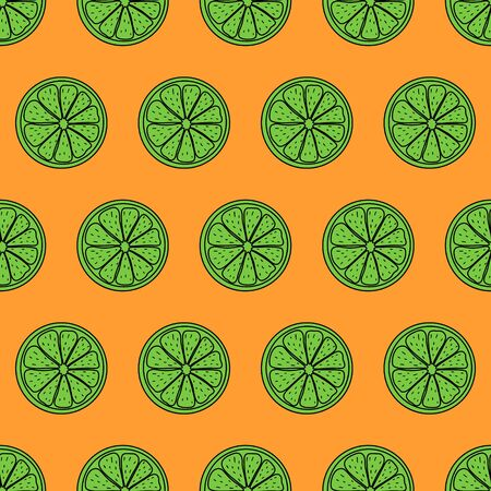 Seamless pattern. Sliced pieces of citrus fruit. The colorful backdrop of tropical fruit. Vector illustration. Great for modern creative designs of backgrounds, cards, print, packing, textile, wrap. Illustration