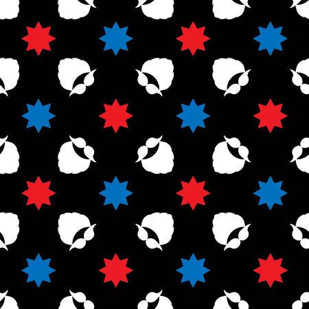 Seamless vector pattern with a mustache, beard, and decorative stars. White, red, blue elements on a black background. Illustration for designs backdrops, posters, cards, packing, print, textiles, etc