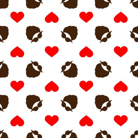 Seamless vector pattern with a mustache, beard, and heart. Brown and red elements on a white background. Modern illustration for designs backdrops, posters, cards, packing, print, textiles, wrapping.