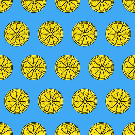 Seamless pattern. Sliced pieces of citrus fruit. The colored backdrop of tropical fruit. Stock vector illustration. Ideas for modern creative designs of backgrounds, cards, print, packing, textiles.
