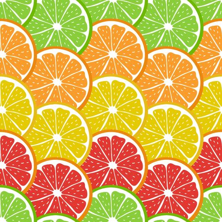 Colorful seamless pattern with sliced pieces of citrus fruit. The bright backdrop of tropical fruits. Stock vector illustration. Great for creative designs of backgrounds, cards, print, textile, menu.