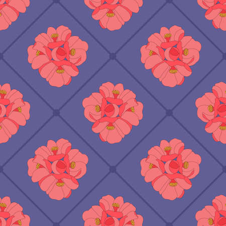 Cute seamless pattern with blooming flowers. Floral vector illustration. Red and pink elements on a violet background. Creative idea for the design of backgrounds, cards, textiles, packages, fabric.