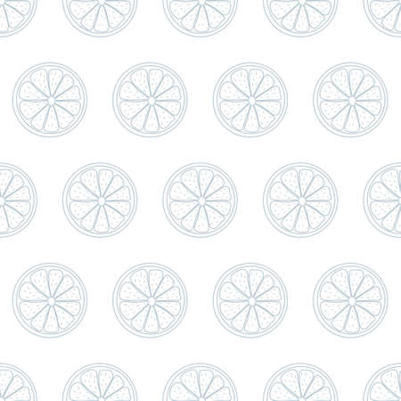 Seamless pattern with sliced pieces of citrus fruit. Grey and white stylish simple backdrop. Vector illustration. Great for modern creative designs of backgrounds, print, packing, textile, menus.