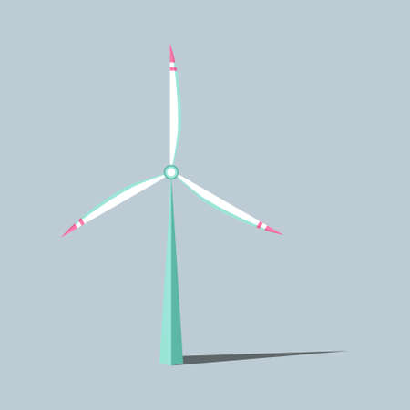 Vector illustration. Windmills with shadow. Wind turbines with changing angle rotation. Symbol of ecological power. Alternative energy resources. For design landscapes, games, infographics, etc.