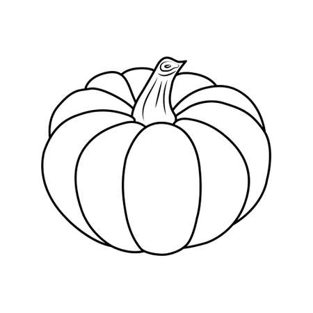 Pumpkin icon. Isolated black outline on white background. Simple style. Vector illustration.