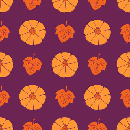 Colorful Pumpkins with leaves on a burgundy background. Seamless vector pattern. Cute autumn illustrations for holiday decorations, festive cards, banners, wrappings, prints, fabrics, modern textiles. Ilustracje wektorowe