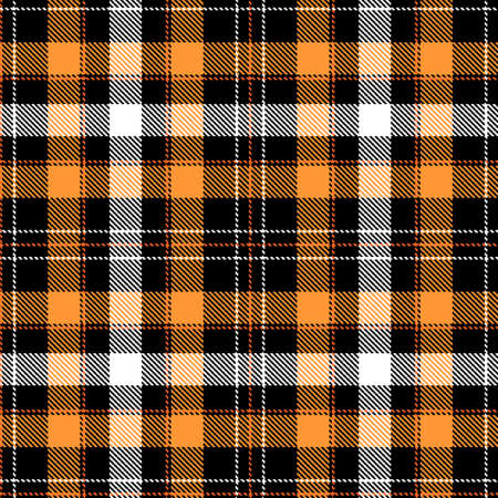 Tartan Cloth Pattern. Chequered plaid vector illustration. Seamless background of Scottish style great for wallpapers, textiles, decorations, festive wrappings. The white, yellow, black colors.