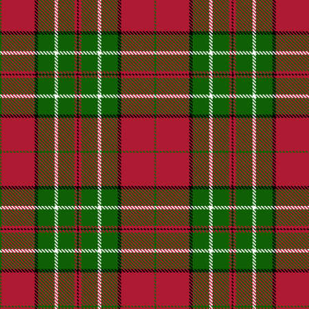 Tartan Cloth Pattern. Checkered plaid vector illustration. Seamless background of Scottish style great for Christmas designs. For festive wallpapers, textiles, decorations, wrappings. Red and green