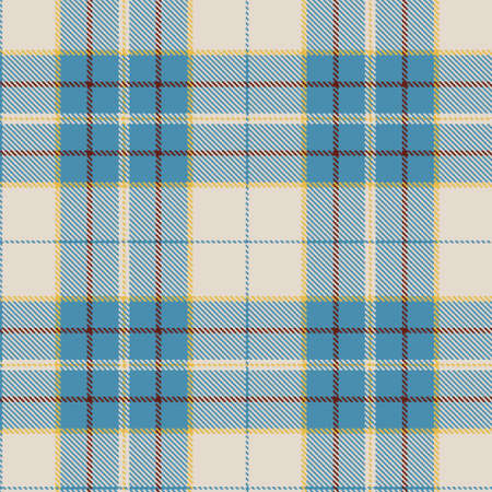 Tartan Cloth Pattern. Checkered plaid vector illustration. Seamless background of Scottish style great for wallpapers, textiles, decorations, wrappings. The beige, soft blue, yellow, brown colors Çizim