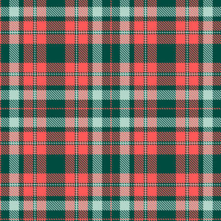 Tartan Cloth Pattern. Chequered plaid vector illustration. Seamless background of Scottish style great for wallpapers, textiles, decorations, prints, festive wrappings. The coral, teal, green colors.