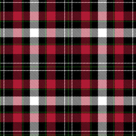 Tartan Cloth Pattern. Checkered plaid vector illustration. Seamless background of Scottish style great for Christmas designs. For festive wallpapers, textiles, decorations, wrappings. Red, Green, White
