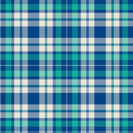 Tartan pattern. Checkered plaid vector illustration. Seamless pattern in Scottish style is great for wallpapers, textiles, fabric, decor, holiday packaging. White, blue, turquoise colors