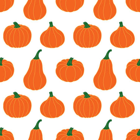 Bright orange pumpkins on a white background. Seamless vector pattern. Autumn illustrations for festive decorations, postcards, banners, gift wrapping paper, modern prints, bright fabrics, textiles