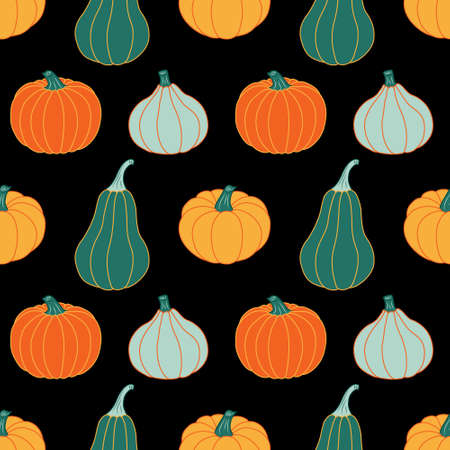 Colorful pumpkins on a black background. Seamless vector pattern. Autumn illustrations for holiday decorations, postcards, banners, festive wrapping paper, modern prints, bright fabrics, and textiles