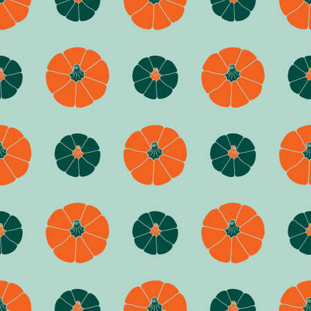 Colorful pumpkins on a light teal background. Seamless vector pattern. Fall. Autumn illustrations for holiday decorations, cards, banners, wrapping paper, modern prints, vibrant fabrics, textiles