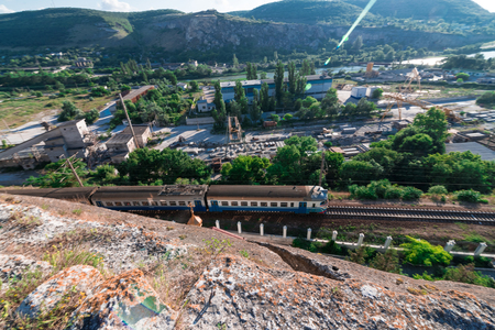 The train goes at the foot of the mountain to the Crimea