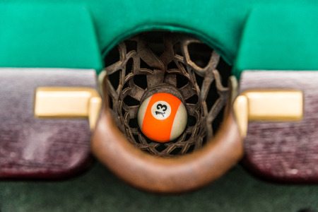 Ball 13 in the snooker pocket Stock Photo