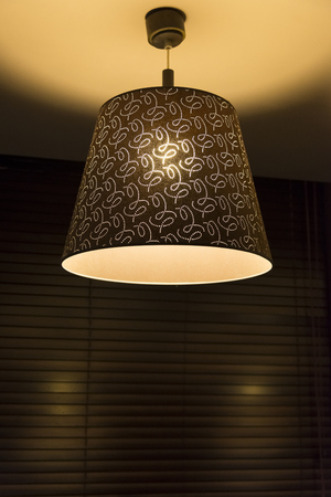 Ceiling lamp hanging on the background of blinds