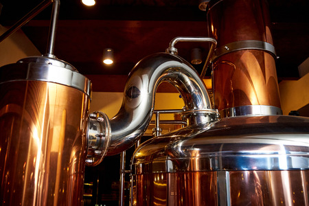 Equipment for the preparation of beer in a private brewery 스톡 콘텐츠