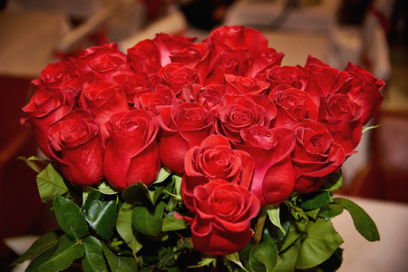 Bouquet of red scarlet roses close-up Stock Photo