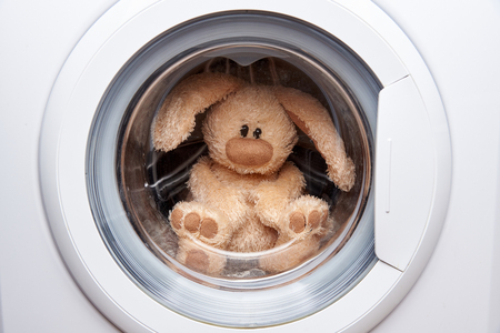 Soft toy hare in the washing machine