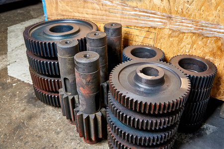 Idle gears and shafts are at the factory Stock Photo
