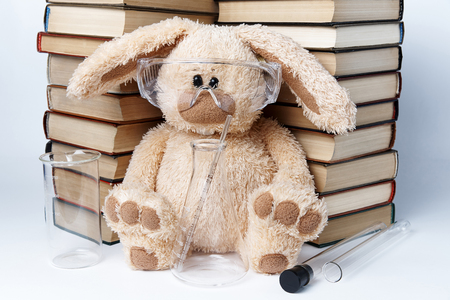 A toy rabbit in protective glasses with beakers and flasks sits near a pile of books. Stok Fotoğraf