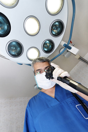 Endoscopy. Doctor holding endoscope before colonoscopy. Stock Photo