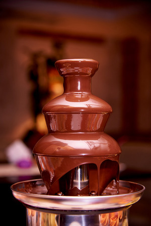 Chocolate fountain close up.