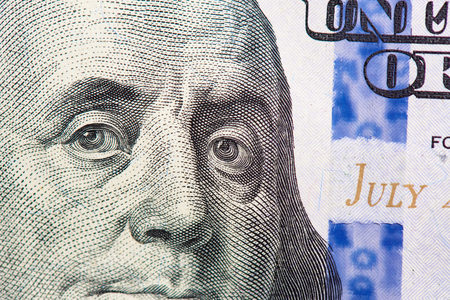 Benjamin Franklin on us one hundred dollar bill macro. Stock Photo