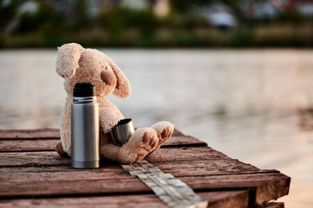 Cute soft rabbit with a flask on the pier near the lake. Copy space. Stock fotó