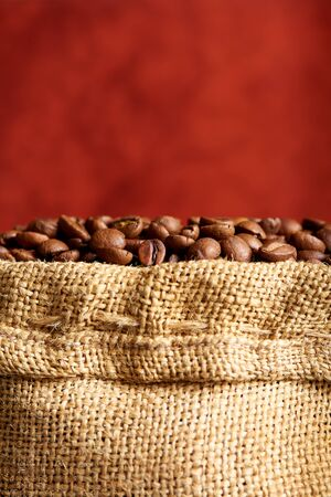 Coffee beans in the bag close-up.