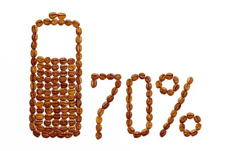 Battery charge 70% of coffee beans on a white background.