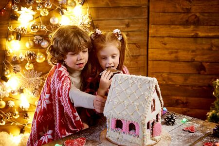 Happy children in a plaid with christmas gingerbread in a decorated room for the holiday. 免版税图像