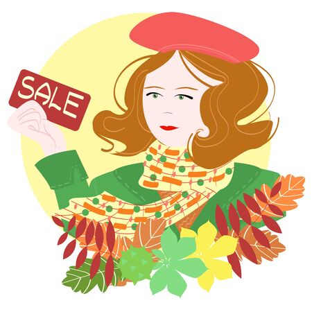 Here is a girl with ginger, short hair and a red beret. In her hand she holds a discount card that says sale. The picture contains the attributes of autumn. Used vector, cartoon style.