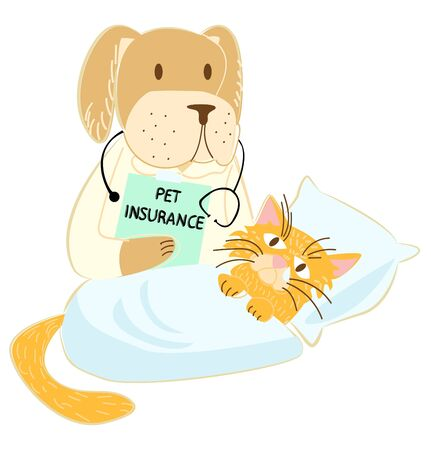 Vector illustration of a dog in a medical gown, with a stethoscope, holding a piece of paper with the inscription pet insurance in its paw. Before him in bed lies sick, red cat.