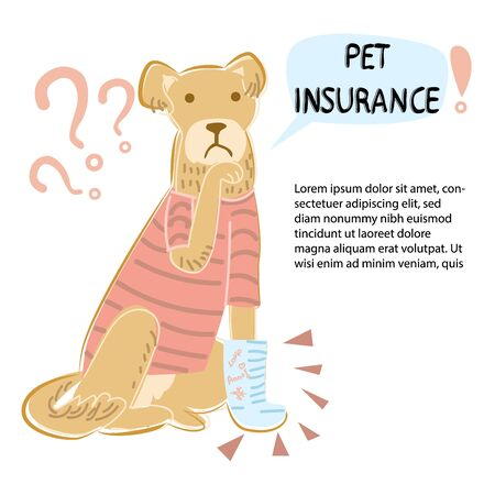 Vector illustration of a pensive dog with sore paw and talking bubble pet insurance . Ilustração