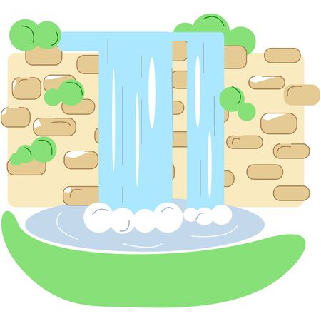 Picturesque waterfall. Can be used for background. Vector flat illustration with lines. 向量圖像
