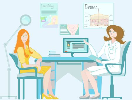Vector cartoon illustration of a doctor dermatologist who advises patient in her office.