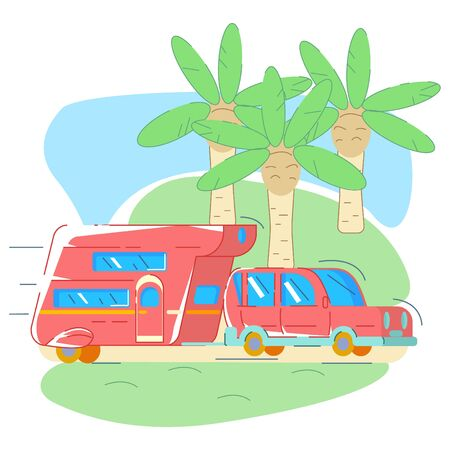 Red van for traveling rides on the road, in background are the houses of palms. Concept of living in a trailer. Vector flat style with lines. Illusztráció