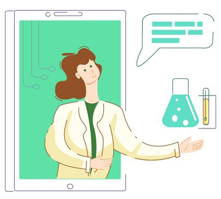 The laboratory doctor, or assistant, on the phone screen shows a test tube on tripod and a flask for analysis