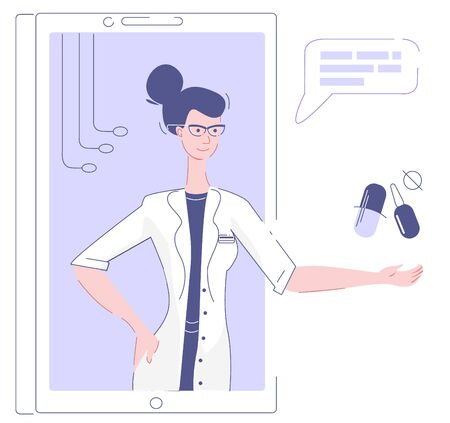 The doctor on the phone screen shows medicines, tablet, capsule, ampoule.