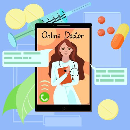 cartoon illustration of a doctor with stethoscope on the phone screen.