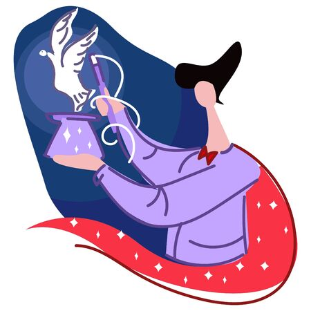 The magician holds in one hand a hat from which dove flies, in the other hand a magic wand. Illustration